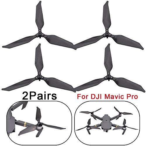 LUCKDE Propeller für DJI Mavic Pro Drone,3-Blade Propeller Low-Noise Advanced Full Carbon Fiber Props Blades Schwarz (4PCS)