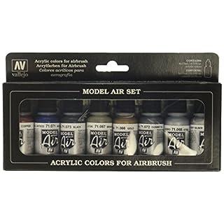 Vallejo 071176 Farbset, Metallic-Farben, 8x17 ml