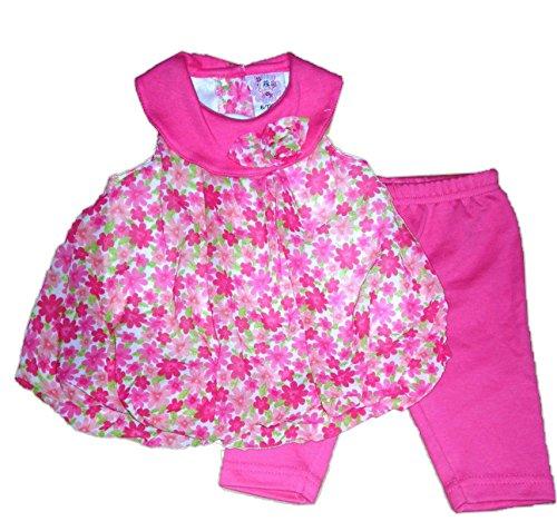 CUTEY PIE - Completo miniabito voile a fiori e leggings (12/18 mesi, fucsia)
