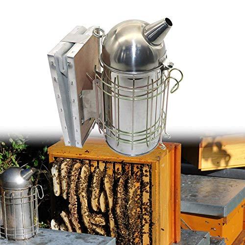 AiCheaX Fumador Manual Acero Inoxidable Spray Smoke Bee Hive Smoker con Bolsa de Gas de Cuero Equipo...