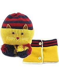 GenialES 2pcs Gorro de Punto Gato Diseño con Bufanda de Cuello de Invierno  para Niños 6 4094a5d8e78