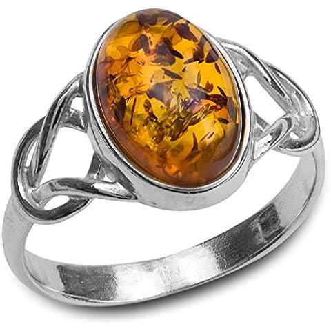 Ovale, argento Sterling e ambra baltica, Anello con motivo celtico