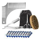 Navaja de Afeitar de Barbero y Peine Plantilla Guía de Laxus - Kit de Afeitado y Cuidado de Contorno de Barba Hombre con 10 Cuchillas de doble filo (o sea 20 Hojas Simples)