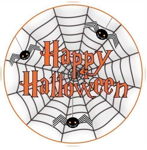'Happy Halloween' Spinnennetz Design Törtchen Topper Essbare Zuckerglasur 19cm Dekoration