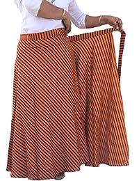 Indi Bargain Women's Cambric Cotton Wrap Around Full Length Skirt (Black Red Leharia ZZ)