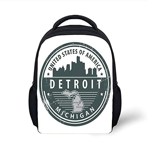 Michigan Trolley (Kids School Backpack Detroit Decor,Damaged Old Stamp of Michigan USA with City Map Location Tourism Icon Decorative,Black White Grey Plain Bookbag Travel Daypack)