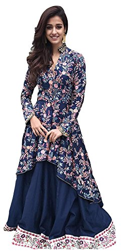 Muta Fashions Blue Printed Latest Design Ladies Gown ( Semi Stitched_Free Size_Blue )