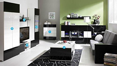 Wohnzimmer-Set GB-GORDA G24v3 mit LED Wohnwand Weiß + Hochglanzschwarz
