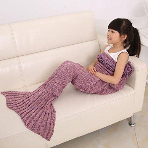 Lalang Kinder Style Meerjungfrau Sofa Stricken Decken Meerjungfrau Schwanz Strickmuster Decke (Rosa)
