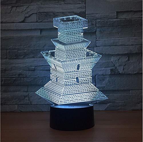 3D Illusion Leuchtturm Architekturmodell 3D Illusion Licht Led 3D Nachtlicht 7 Farbe Fernbedienung Schreibtischlampe Party Atmosphäre Licht