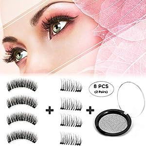 Dkina Dual Magnetic False Eyelashes - Full Size & Half Size, Free of Glue, Reusable Magnetic Fake Lashes for Natural 3D Charming Eyes.(2 Pairs/8 Pcs)