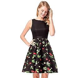Antaina Vestido de Las Mujeres del Oscilación del Patinador Lindo de la Impresión Vintage de la Cereza Negro 50S,S