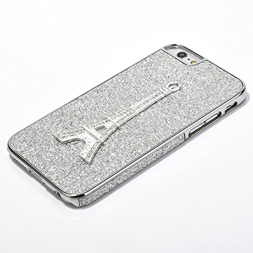 iPhone 6 Hülle iPhone 6S Hülle,iPhone 6S Case,EMAXELERS Hart Plastik Schutzhülle Hülle Case Cute Cherry Blossom Rabbit Muster Hart Transparente Clear Cover Silver Pink Animals Series Sparkles Diamant  Tower PC 2