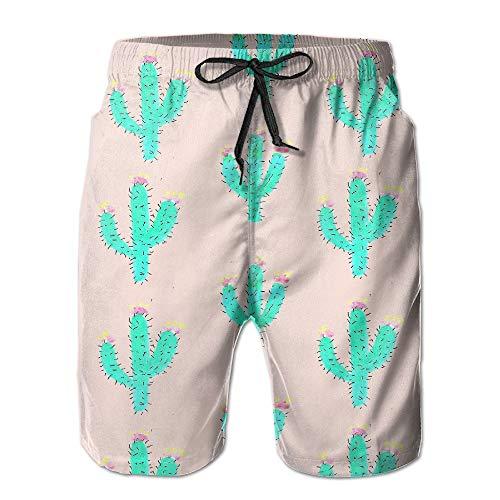 bdb6ef7e9f Mens Prickly Cactus Fashion Surf Board Beach Home Shorts Swim-Trunks Quick  Dry with Pocket