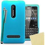 Accessory Master 5055716365436 Silikon Gel Tasche mit Displayschutzfolie und Stylus für Nokia Asha 210 himmelblau preiswert