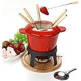 hierro fundido fondue set fondue hierro fundido -Set 6 tenedor fondue queso ceramica / fondue queso chocolate