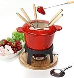 Kitchen - Cast Iron cheese fondue set of 6 forks/ DIY chocolate fondue set RED / Meat Fondue Sets