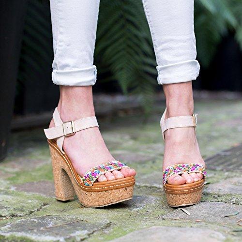 Ideal Shoes–Sandale mit Plattform aus Kork mit Riemen geflochten und Bride Effekt Wildleder Natassia Beige - Beige