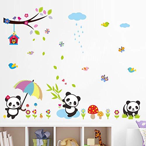 Wall Sticker ZOZOSO Panda De La Historieta Tier Mariposa Nubes Aves Pegatinas De Pared Para Niños Habitación von Cuarto De Niños Dormitorio Dieses Zimmer ist mit Dekor ausgestattet Mariposa Tiere