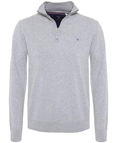 GANT Herren Pullover Stretch Cotton Zip Grey Melange