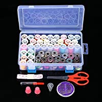 Goolsky Mixed Colors 32 Thread Bobbins + 32 Thread Spools Sewing Accessories Supplies Kit with Measuring Tape Sewing Needles Storage Case for Brother Janome Singer