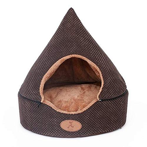 HTMAL Haustier Hundehütte Katzenstreu Nest Abnehmbare waschbare Yurt mit zwei Verwendungszwecken geschlossener Hund Hundehütte Katzenstreu Katzenhausoberteil Abnehmbare, abnehmbare Kissen All Inclusiv