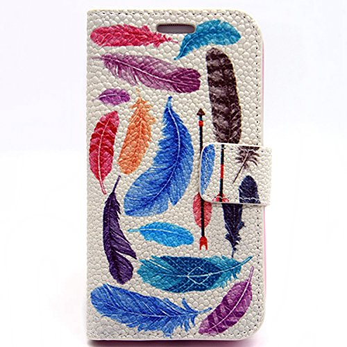 Coque pour iPhone 4, iPhone 4S Coque Etui, Coque Housse protection en cuir pour iPhone 4s, iPhone 4s Portefeuille Coque Housse Etui, iPhone 4 4S Leather Wallet Case Cover Skin, Ukayfe Etui de Protecti plumas de colores