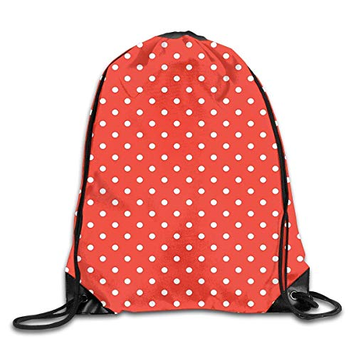 GDESFR Rucksack mit Kordelzug Cute Vintage Polka Dots Pattern Nostalgic Trendy Girls Round Spots Design Drawstring Backpack Travel Bag Gym Outdoor Sports Portable Drawstring Beam Port Backpack for Gi -