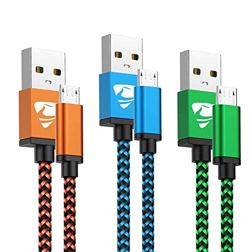 Yosou Cable Micro USB [3-Pack, 1M] Cable Cargador Movil de Nylon Cable USB Micro USB Compatible con Dispositivos Android, Samsung Galaxy S7/S6/S5, Huawei, Sony, Nexus, HTC - Azul, Naranja, Verde