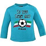 Mikalino Baby Longsleeve So sehn Sieger aus - Italien - Italia, Größe:92/98, Farbe:atoll-blue