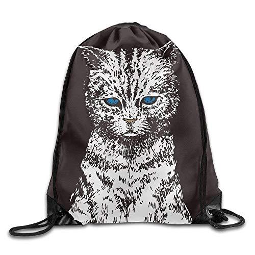 Print Drawstring Backpack Waterproof Sport Bag (Blue Eyes Cat - Black)
