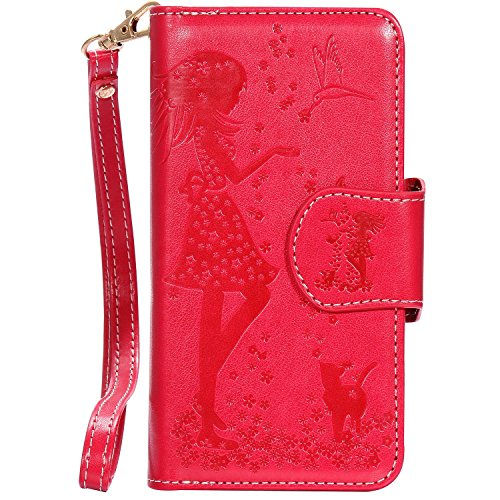 iPhone 8 Plus Case, Sunroyal Housse iPhone 7 Plus Coque Etui Portefeuille Porte-Monnaie Couverture dans le Livre de Style Stand Wallet Motif Fille Fleur Case Cover PU Flip en Cuir Carte Fente Cuir Poc Rouge