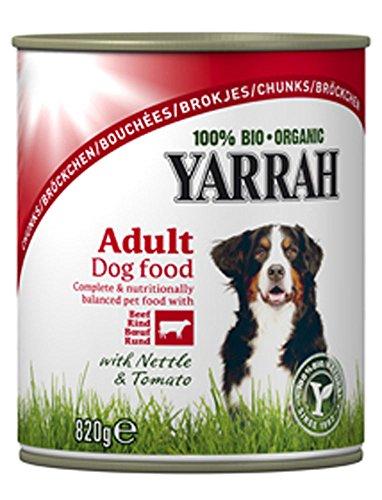 24er-VE Bio Hundefutter Feucht Bröckchen Huhn & Rind mit Brennessel 820g Yarrah -