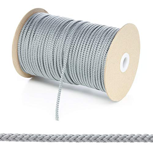 Kalsi Cords Polypropylen-Seil, rund, geflochten, 4 mm, 8 Farben und 4 Längen Größen, Grau/silberfarben, 10 Metre Cut Length - Grau Cord