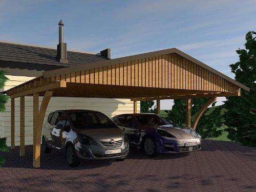 Carport Satteldach MONZA VII 600cm x 600cm mit 2 Leimholzbögen Bausatz