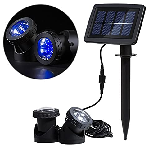 Lixada Solar Powered Super Bright 2 Underwater Lamps 12 LEDs