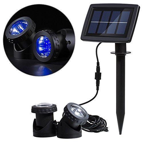 Lixada Foco Lámparas Bajo el Agua Funciona con Energía Solar Sensor de Luz de Super Brillante de 12 LEDs Iluminación de Paisaje para Jardín Piscina Yard Al Aire