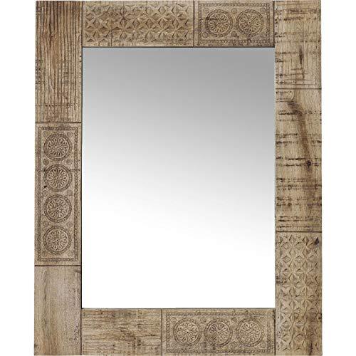 Kare Design Spiegel Puro 100x80cm, rechteckiger Wandspiegel mit Rahmen aus Masshivholz geschnitzt, Badspiegel Holz (H/B/T) 100x80x3cm