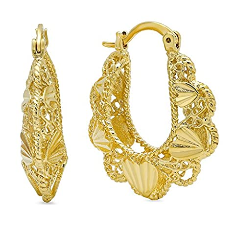 Gold Plated Round Hoop Earrings w/Filigree & Hearts Design
