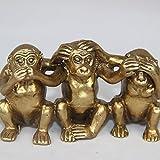 Chinesische Sammlerstücke Messing siehe sprechen nicht hören 3Affen Kleine Statue