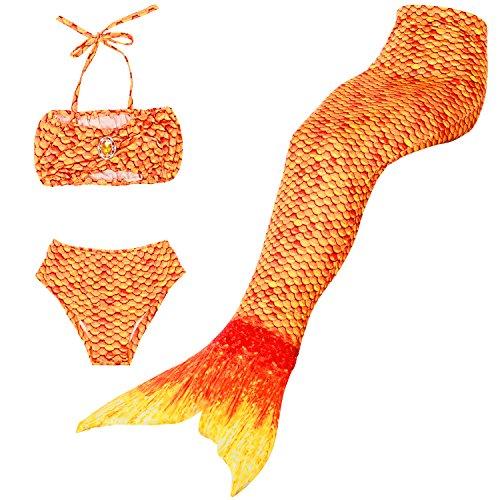 frau Badeanzug Mädchen Niedliche Meerjungfrau Kostüm 3pcs Bikini-Sets,Viele Schwimmflossen zur Auswahl,Das Beste Sommer Geschenke für Kinder! (130, Orange) ()