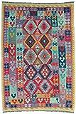 CarpetFine: Kelim Afghan Teppich 164x242 Blau,Grün,Violett - Geometrisch