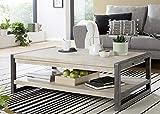 Main Möbel Couchtisch Holz massiv 120x70cm Tundra Akazie weiß Metall