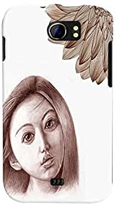 PrintVisa 3D-MMXC2A110-D7785 Girly Sad Sketch Back Cover for Micromax Canvas 2 A110