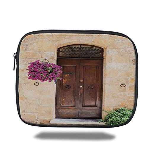 Tablet Bag for Ipad air 2/3/4/mini 9.7 inch,Tuscan Decor,Image of Rusty Wood Door with Flowers in Italian Town Authentic Nostalgic Building,Cream Lilac Brown,Bag