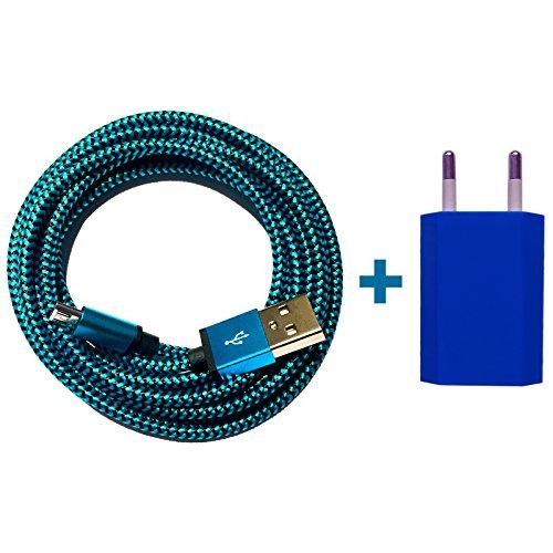[Premio]® USB Netzteil 5V/1A + 1m Premium Nylon Micro USB Ladekabel Datenkabel SET kompatibel mit [Universal | Smartphone | Handy | Tablet | Samsung Galaxy | HTC | LG Nexus | NOKIA | Sony | und viele mehr...] blau