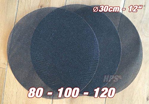 HPS® 3Stück Schleifnetz - Schleiffolge 80-100-120 Schleifnetz - Ø 30cm - Schleifnetz für Einscheibenmaschine zb Floorboy xl 300 - Schleifen von- Holz usw.