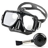 Silikon Brille Zum Tauchen und Schnorcheln, mit Adapter-Aufsatz für Ihre APEMAN A70 Waterproof Wasserdichte Action Camera und ergonimischer Blasebalg für die Pflege