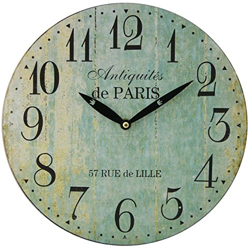 Paris 28Cm Distressed Round Wall Clock - Duck Egg Blue by Carousel Home