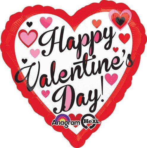 Amscan International 2986701Happy Valentine rot und schwarz Standard Folie Ballon